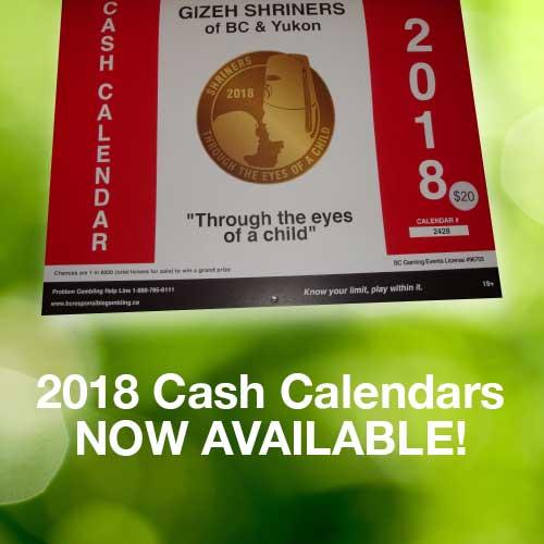 2018 Gizeh Shriners Cash Calendar